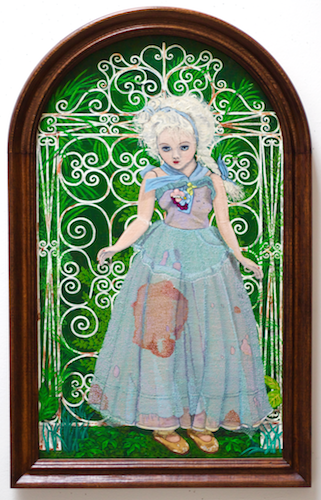 """""""After Midnight"""", 2000, oil on canvas in wood frame, 28.25""""h.x18""""w."""