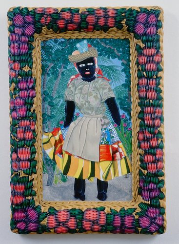 """""""Jamaican Doll"""", 2000, oil on canvas in painted wicker frame, 31""""h.x21""""w."""