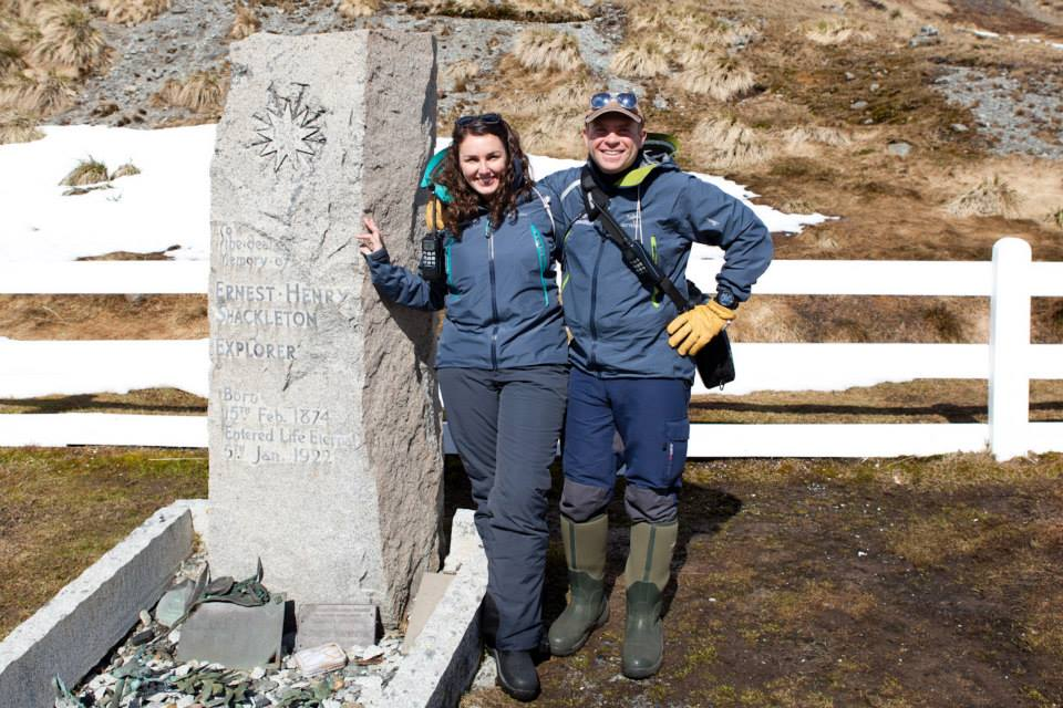 Alex and Lauren at Ernest Shackleton's grave in South Georgia