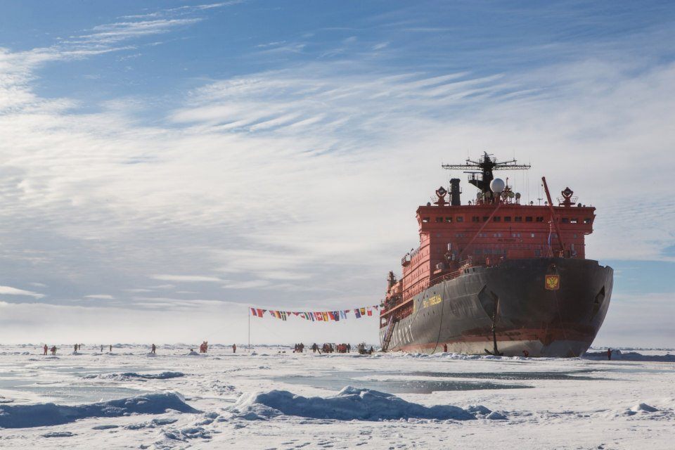 50 let Pobedy, the largest nuclear-powered icebreaker in the world, moored in the ice at the Geographic North Pole.