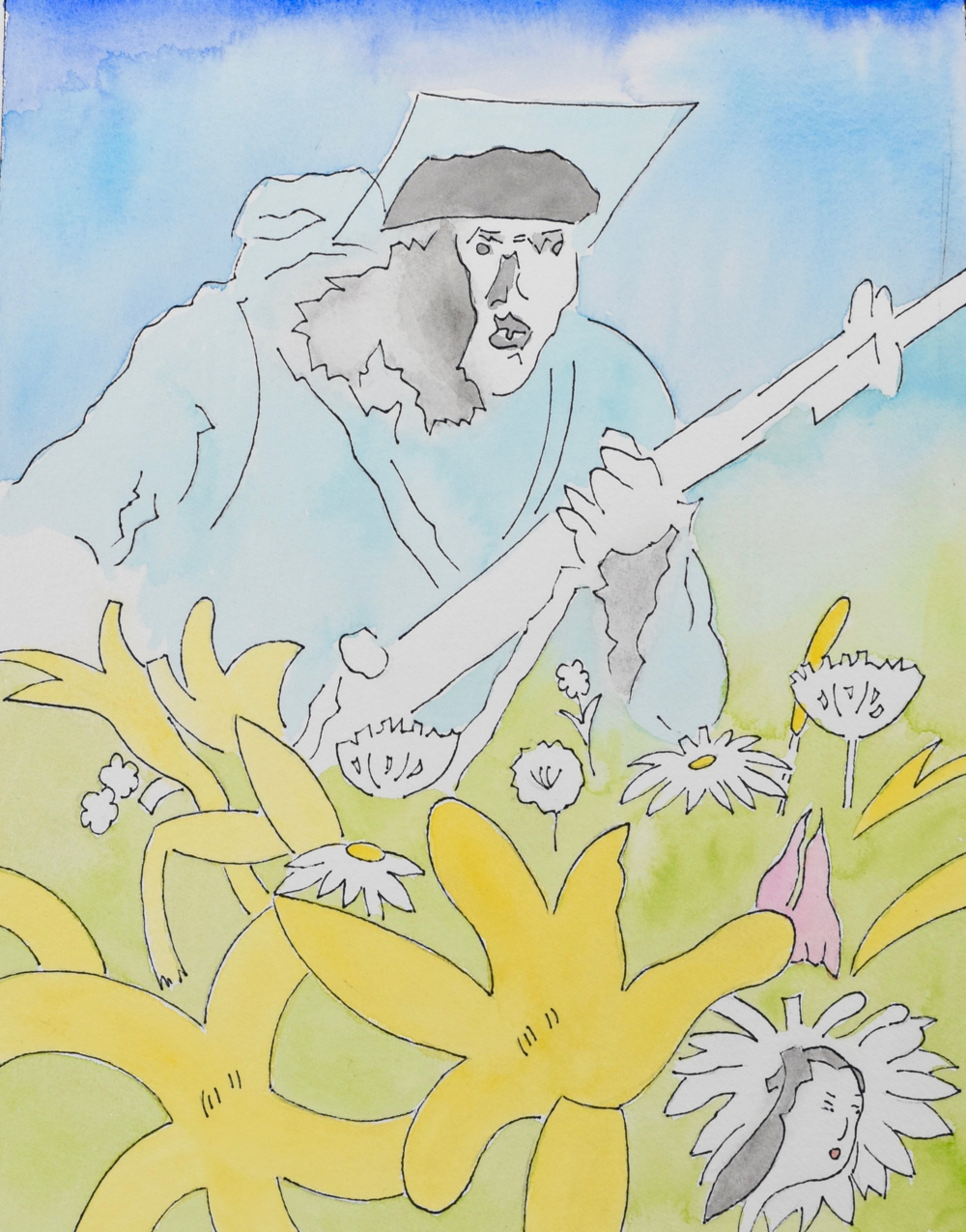 "Soldier in Flowers  (2013)  from  Joyous Cosmology?   gouache on paper, 11"" x 8.5"""