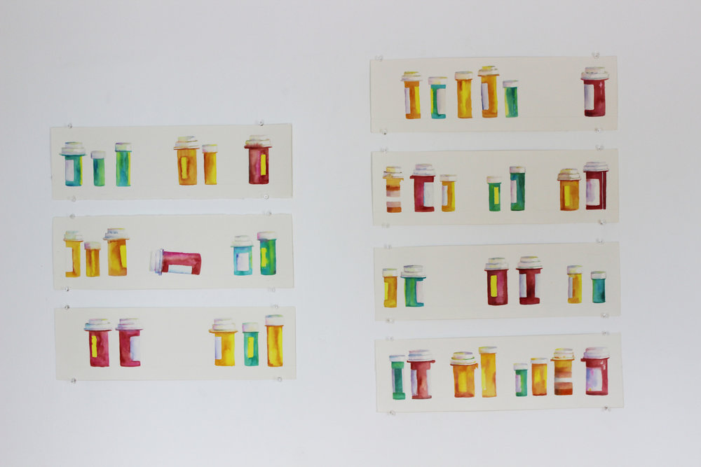 "Collection of Pills (2015)    from Pills   Gouache on paper, 44"" x 30"""