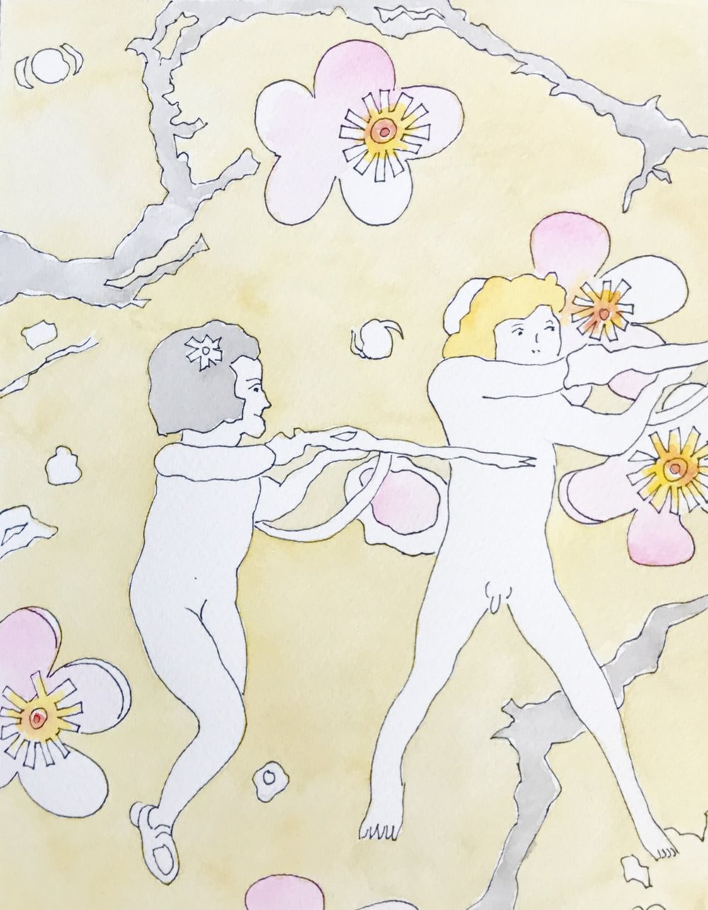 "Children with Plum Blossoms (2013)    from Joyous Cosmology?   Gouache on paper, 17"" x 14"""