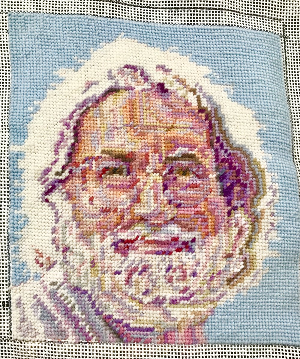"Jerry Garcia (2015)  Needlepoint on canvas mesh, 10"" x 8"""