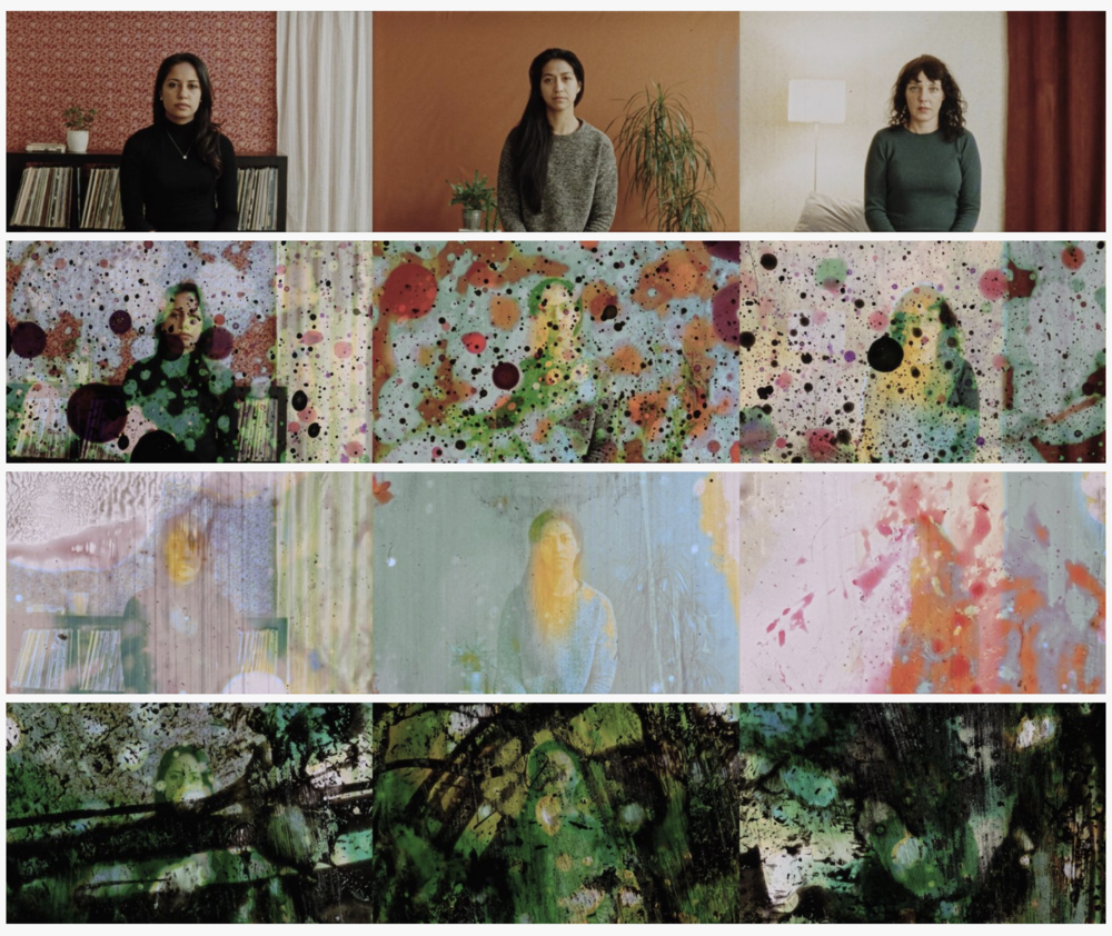 OPTIQUE-HAPTIQUE - 2017   3m   Video installation pieceOptique-Haptique is a triptych video featuring three static women whose image deteriorates quietly and simultaneously. A filmic experimentation of the passage from optics to haptics; transition from figurative to abstract.