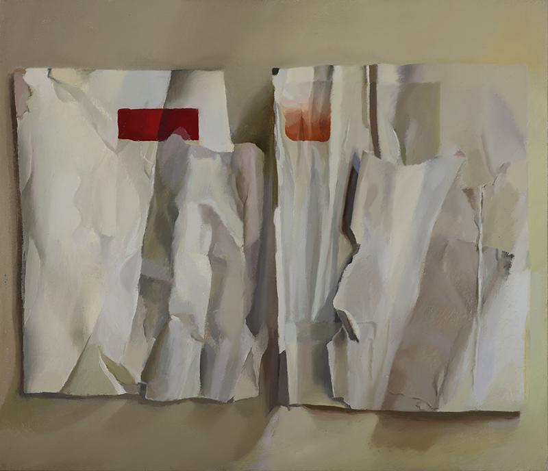 Artforum , Crinkled, 2017, oil on canvas, 16x18 inches