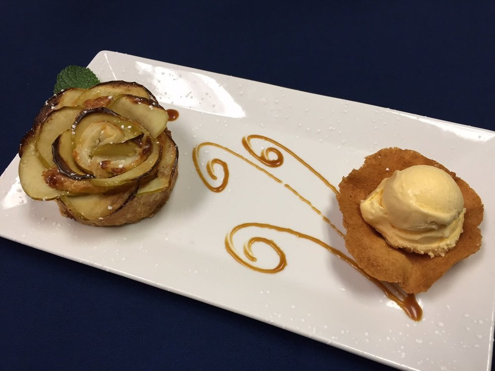 Apple tart, ice cream in a tuiles