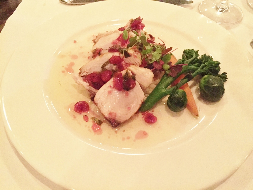Wahoo with cranberry in buerre-blanc