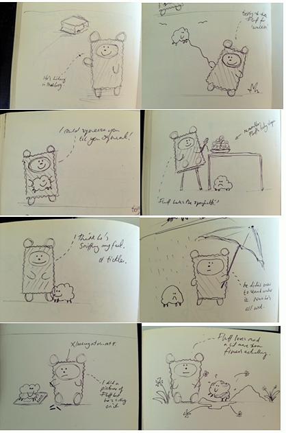 Tweedy & Fluff Development sketches
