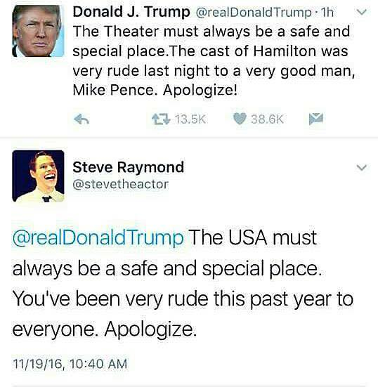 "[image description: Screenshot of Donald Trump's tweet: ""The theater must always be a safe and special place. The cast of Hamilton was very rude last night to a very good man, Mike Pence. Apologize!"" and Steve Raymond's twitter response: ""@realDonaldTrump The USA must always be a safe and special place. You've been very rude this past year to everyone. Apologize.""]"