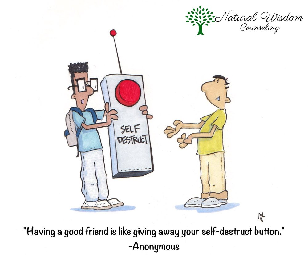 "[image description: custom art by @ajschuberto; illustration of two children. The one on the left is in grey pants and a blue t-shirt and square glasses. This child is holding a large ""remote-control button"" that has ""SELF DESTRUCT"" written on it. The child on the right is in tan pants and a yellow shirt, reaching out, in a gentle offer to receive the button. The caption at the bottom reads ""Having a good friend is like giving away your self-destruct button."" - Anonymous]"