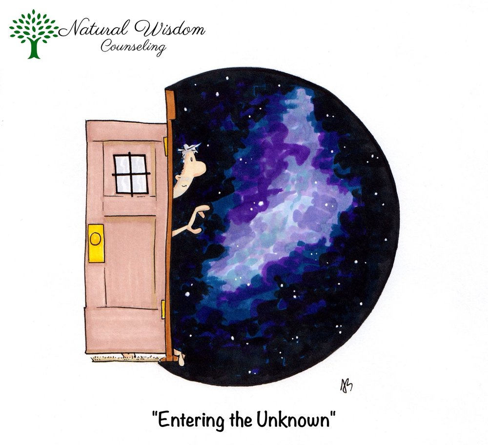 "[image description: custom art by @ajschuberto; illustration of a person ""Entering the Unknown"". There is a threshold of a doorway, with a door opened back, towards the left of the image. At the threshold, the head, arm, and toes of a person is visible. The person is reaching out, while their toes are curled around the bottom of the doorway. In front of the person (to the right of the image) is the openness of outer space. There are stars, and what appears to be a galaxy. Art inspired by the ways in which change and transitions can be scary, while also full of limitless, spacious opportunities.]"
