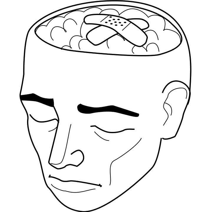[image description: black and white drawing of a head/face. The top of the skull is omitted, leaving the image of an exposed brain, with two band-aids placed over the brain.]
