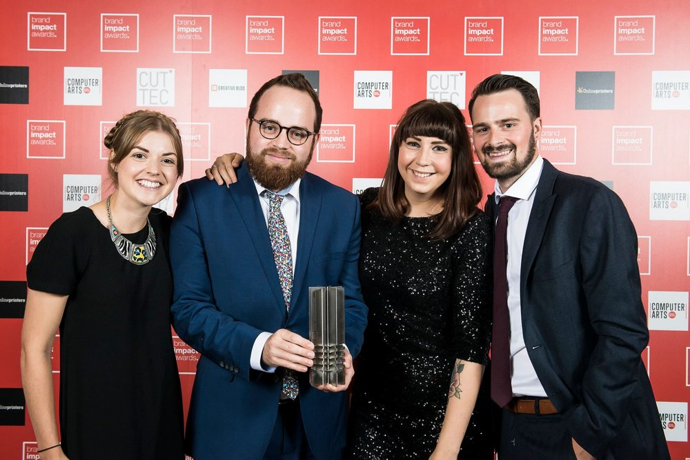 The AUB / Bond and Coyne team winning for 'One Piece of Advice' at the Brand Impact awards 2016