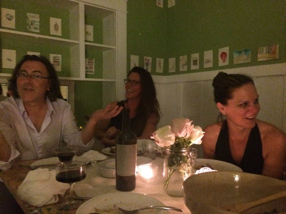 Stephen Wright, Tamarind Rossetti & Andrea Bowers at dinner party