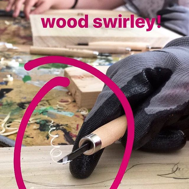 "student votes are in and the ""wood swirleys"" are their favorite part of #woodcarving 💪#woodcurls #thursdayartworkshops #littlehousegallery #youthart"