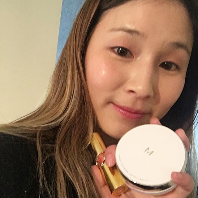 Only used two products for this dewy look! Missha BB Cushion and a YSL lipstick. I used the lipstick as a cream eye shadow, blush, and lip color! I'm very satisfied with the healthy glow :D #nofilter #ysl #missha #kbeauty