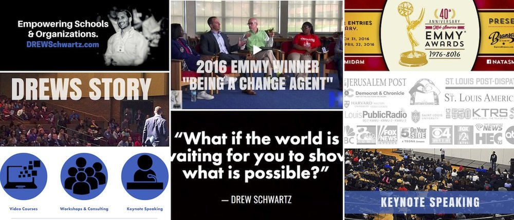 DrewSchwartz.com was a full brand re-design, completed twice for Drew Schwartz, International Speaker and Conflict Resolution Specialist, by Brandon Mushlin Creative,