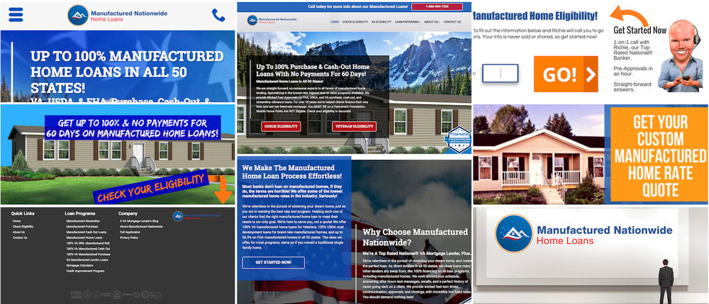 ManufacturedNationwide.com helps clients with a manufactured home in 50 states purchase, refinance, or pull cash out using a multitude of Government programs. In coordination with Brandon Mushlin Creative.
