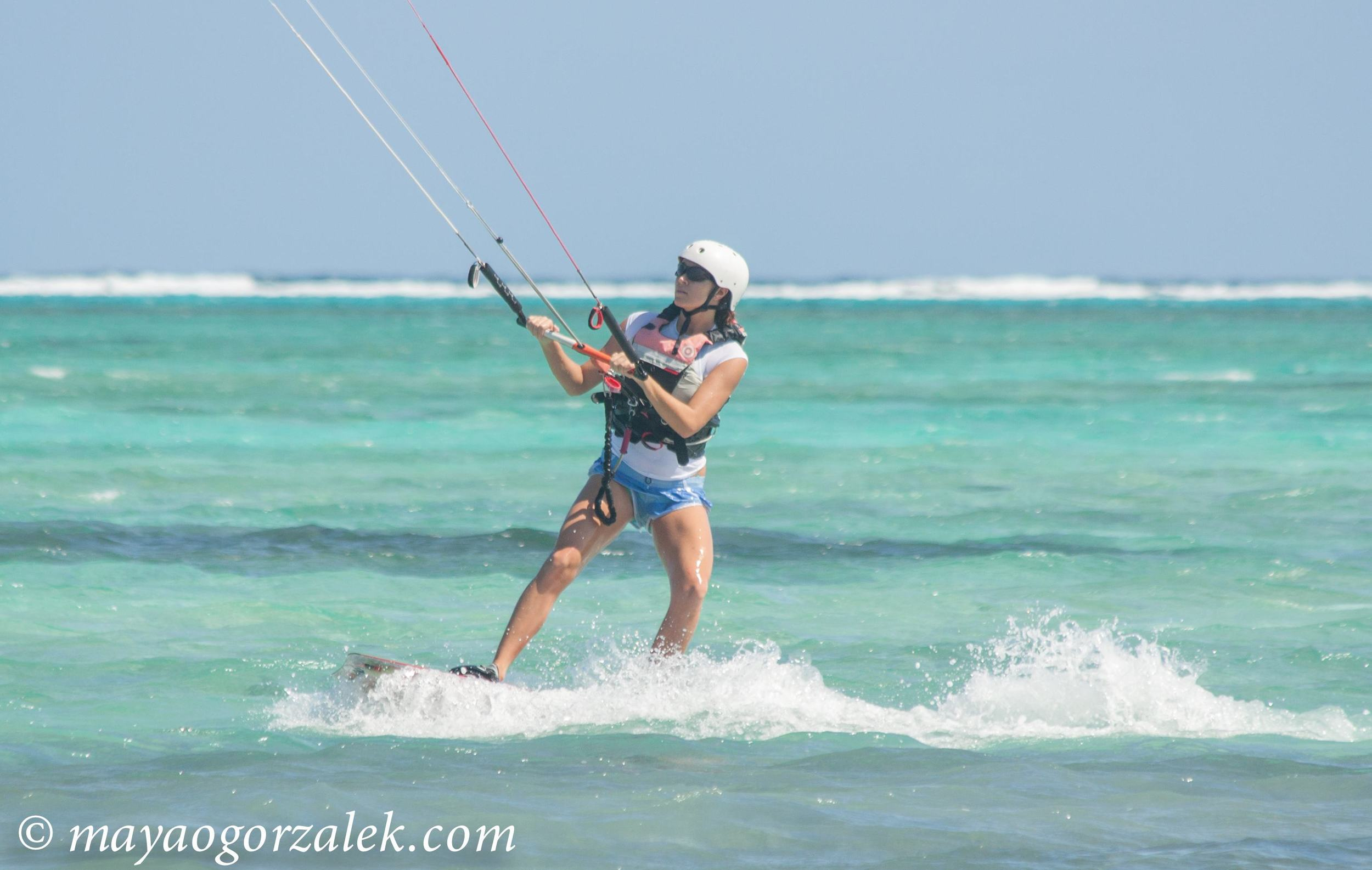 Kate during her 4th lesson with Kitesurf Cayman