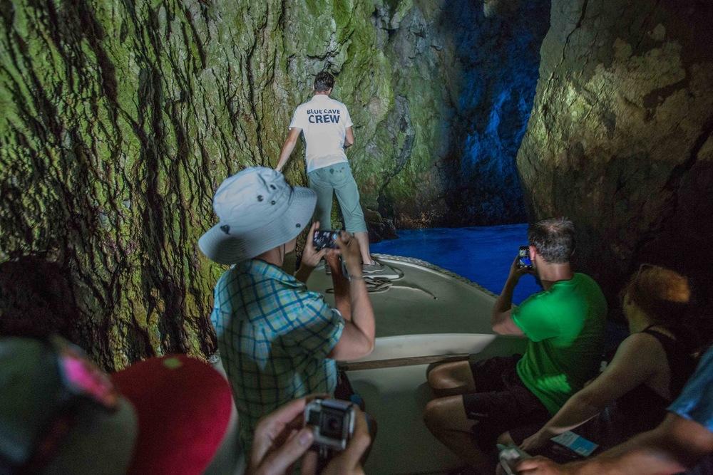 Entering Blue Cave