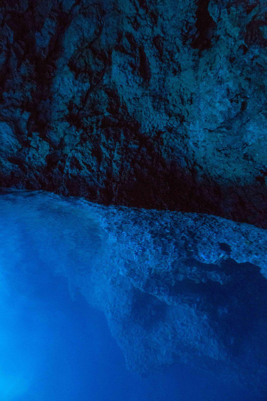 Blue cave cliff