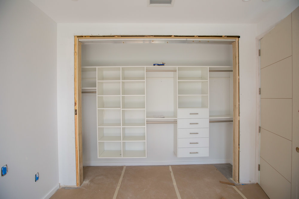 Easy Closets in the guest bedroom