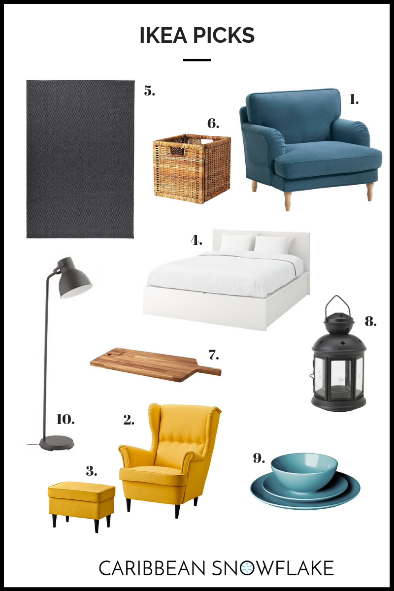IKEA TOP FINDS: - 1. Stocksund chair: $4292. Strandmon chair: $2493. Ottoman: $694. Malm bed: $4995. Morum Rug: 6x9: $996. Branas Basket: $12.997. Smaata chopping board: $19.998. Lantern: $3.999. Fargrik Dinner set: $24.9910. Hektar lamp: $54.99