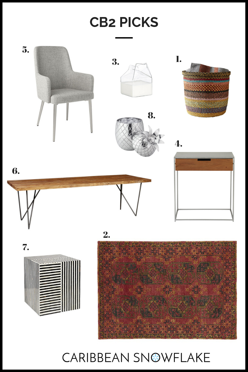 CB2 TOP FINDS: - 1. Joya basket: $69.952. Asa rug: $7993. Milk jug: $12.954. Audrey nightstand: $2295. Dining chair: $3996. Dylan dining table: $13997. Bone table: $4998. Pineapple Ice Bucket: $69