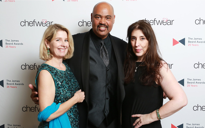 Long lines at Chefwear photo booth.  Me, Curtis Aikens and   Rochelle Huppin  .