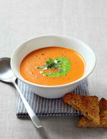 Heirloom Tomato Bisque with Green Pea Pesto