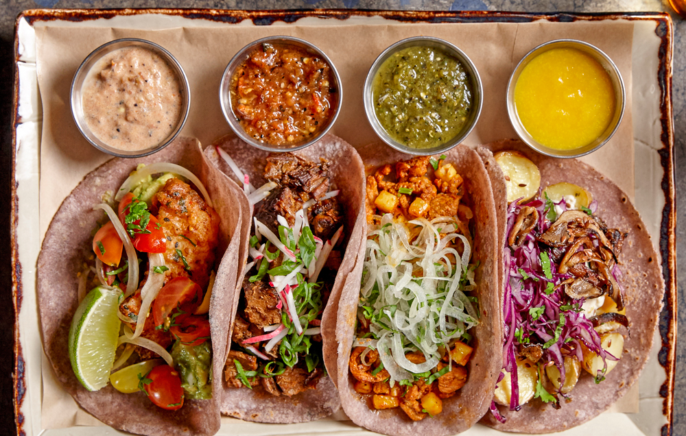 Sausal's taco platter offers an unexpected variety of flavors