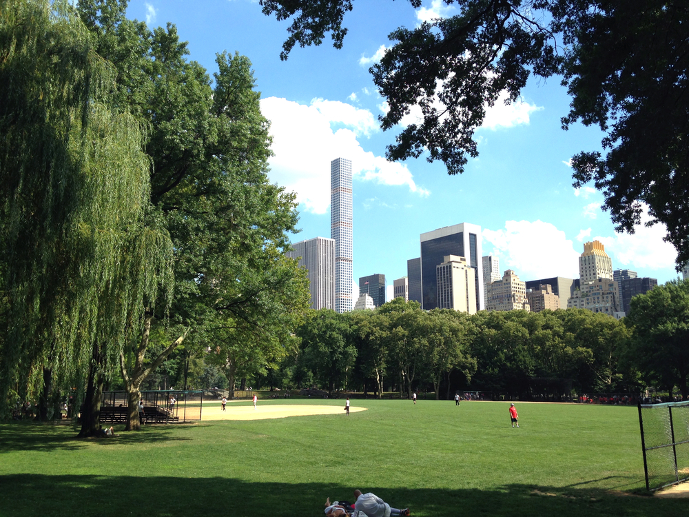 Baseball in Central Park. Love the juxtaposition of the beautiful park's greenery against theskyscraper buildings in the background.