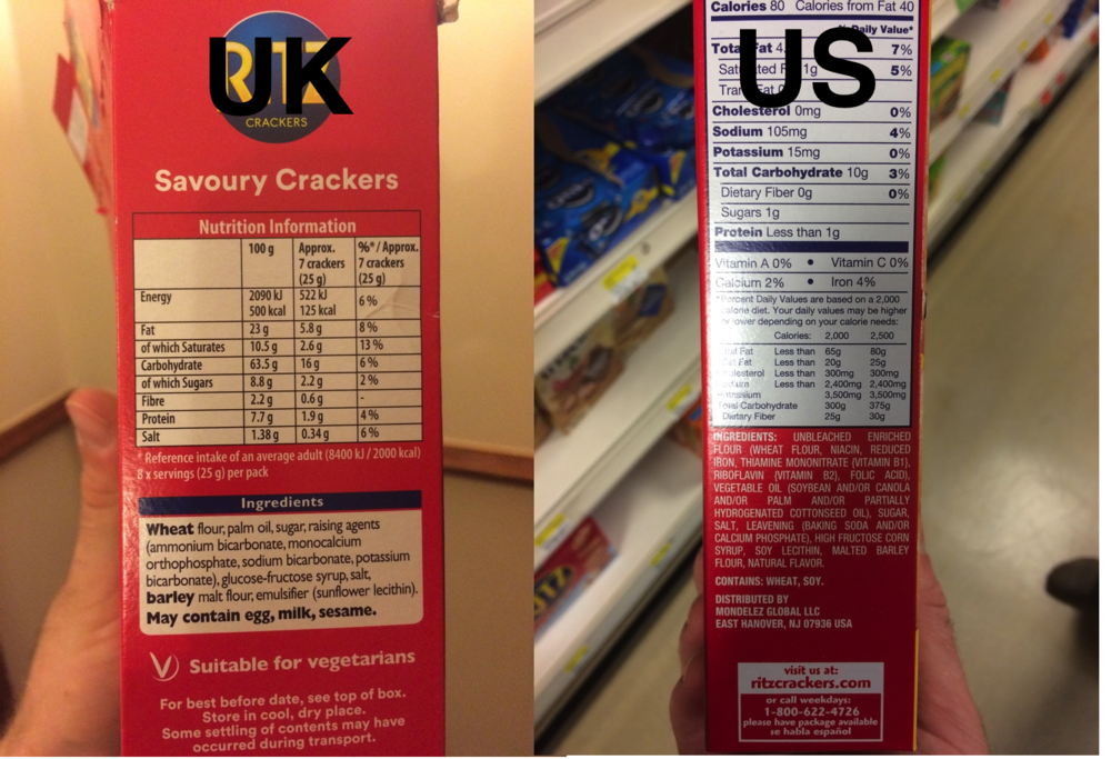 Ritz crackers in the UK (left) don't have soy, but Ritz crackers in the US (right) do!