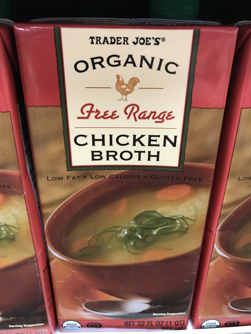 Trader Joe's Organic Free Range Chicken Broth doesn't contain soy!