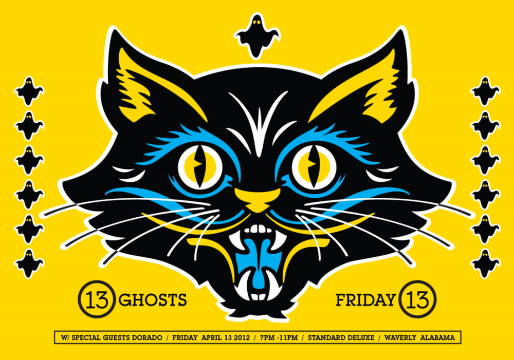 """2012: Poster for Birmingham-based, surf-rock gods,13Ghosts. When I was told the show was on Friday the 13th, I just had to do it. Scott Peek always does a killer job bringing in top talent to his shows, plus Standard Deluxe is the best print shop in the South. A little more about 13Ghosts (from Pitchfork) - """"Brad Armstrong sings like Richard Buckner at a closed-casket viewing and favors intensely Book of Revelations imagery. 13ghosts continue to reinvent themselves with every song, trying on new sounds and styles to see what fits…The Strangest Colored Lights is a persistently somber, mostly humorless album, but it's so musically vigorous that you wouldn't mind if they dwelt on death for the rest of their lives."""""""