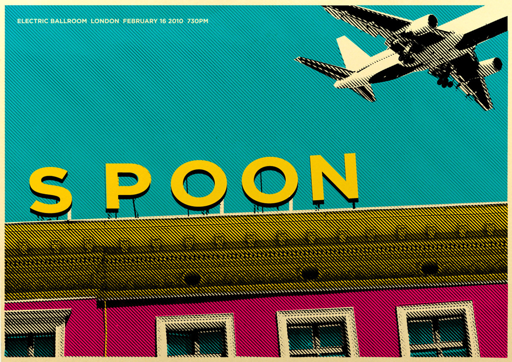 "2010:  Designed for the band  Spoon . The band was formed in late 1993 by the lead singer and guitarist Britt Daniel and the drummer Jim Eno, after the two met as members of The Alien Beats. The name Spoon was chosen to honor the 1970s German avant-garde band Can, whose hit song ""Spoon"" was the theme song to the 1985 movie Das Messer aka Jagged Edge in the United States. Eno describes Spoon's music as ""psychedelic."""