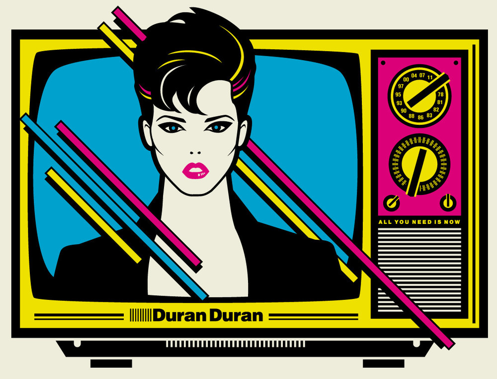 2011: Poster forDuran Duran. As a kid in the 80's I was a big Duran Duran fan, so when the opportunity to do a poster for them came up, I had to do it. I can still remember getting our first color TV, a classic Curtis Mathis (are they still a company?) - wood cabinet, furniture behemoth. Then shortly after, cable TV — the clouds had opened up and magic of videos had changed my world forever when MTV first aired. I remember two videos more than any, John Cougar Mellencamp'sHurt So Goodand Duran Duran'sRIO. TV had become art for me. I had to recapture a little of the 80s in this one. I'm also a big fan ofPatrick Nagelwork, so naturally I had to pay homage to his style and put the image on my parent's Curtis Mathis TV.