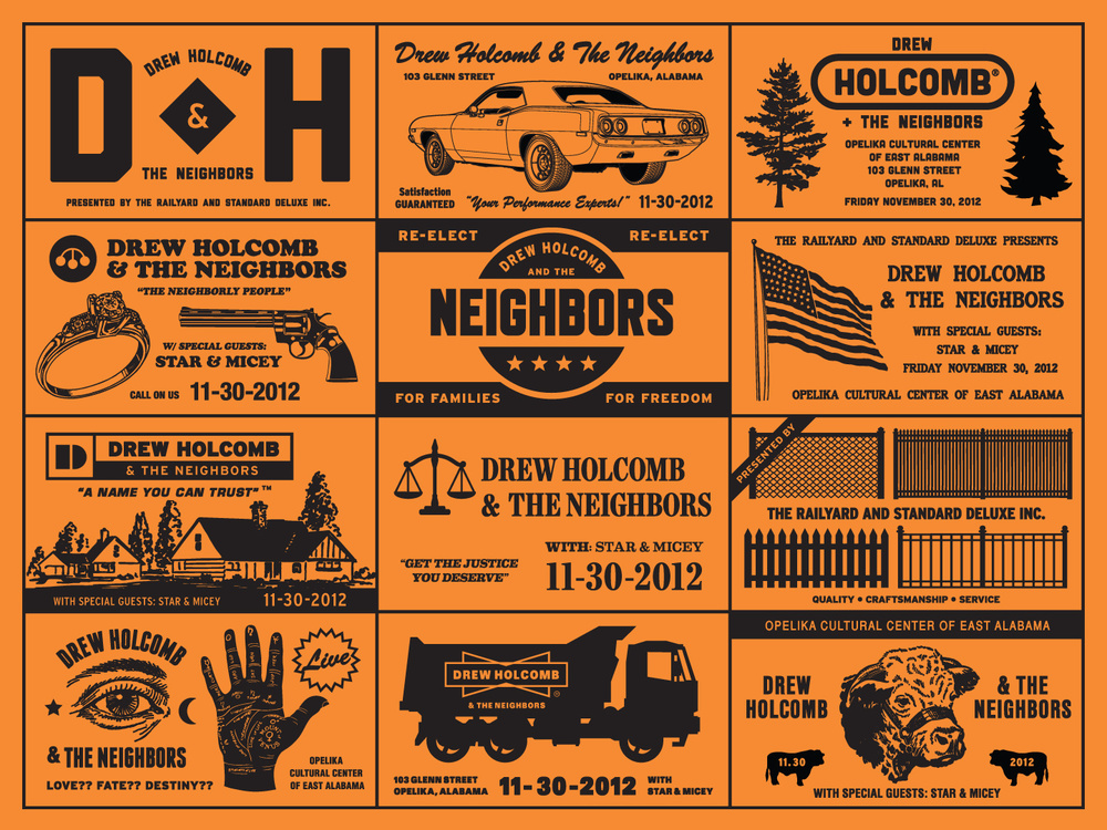 2012: Drew Holcomb & The Neighbors - Inspired by the honored tradition of vintage multi-panel ad blocks. About the band:Drew Holcombis an American singer and songwriter who grew up in Memphis, Tennessee, and now calls East Nashville, Tennessee home. Holcolmb's wife, Ellie, performs alongside him in the band, Drew Holcomb and the Neighbors. Holcomb earned a considerable following after his 2005 album, Washed in Blue, was released and had multiple TV placements on Lifetime's Army Wives and Showtimes's United States of Tara, and A&E's The Cleaner.Printed by Scott Peek / Standard Deluxe.