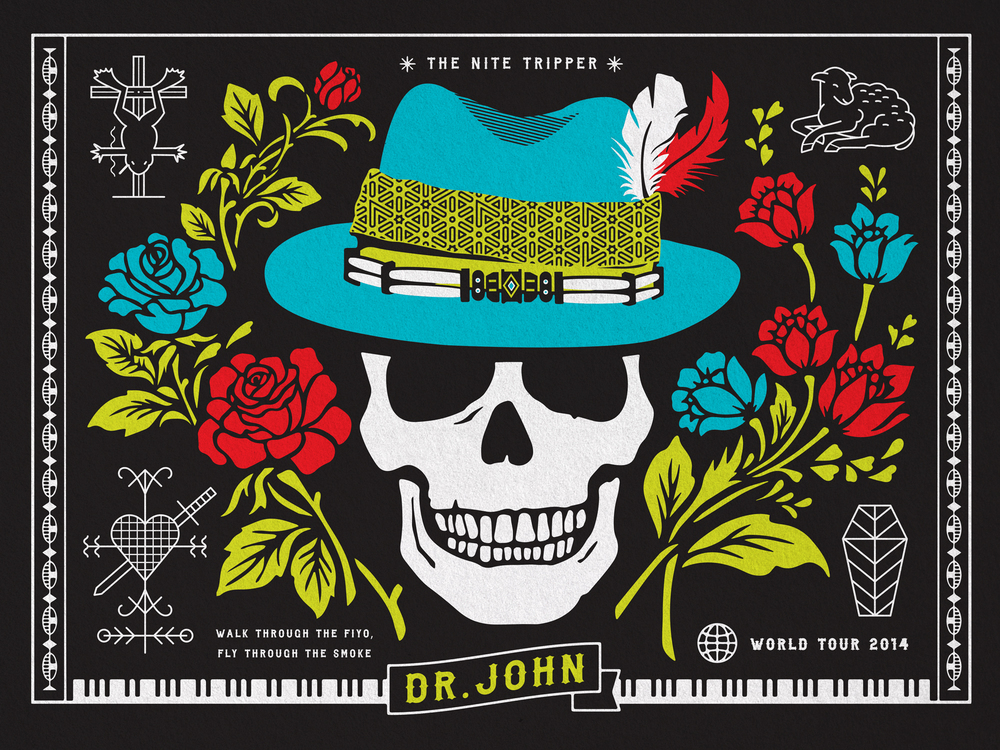 """Dr. John's2014 World Tour. Many thanks to Scott Peek at Standard Deluxe for giving me the opportunity to work with The Legendary - Dr. John. The Night Tripper: The legendary Dr. John is a six-time Grammy Award-winning musician and Rock & Roll Hall of Fame inductee. Known throughout the world as the embodiment of New Orleans' musical legacy, Dr. John is a true icon in American culture. His colorful musical career began in the 1950s when he wrote and played guitar on some of the greatest records to come out of the Crescent City, including recordings by Professor Longhair, Art Neville, Joe Tex and Frankie Ford. Dr. John headed west in the 1960s, where he continued to be in demand as a session musician, playing on records by Sonny and Cher, Van Morrison, Aretha Franklin and The Rolling Stones' """"Exile On Main St."""" During that time he launched his solo career, developing the charismatic persona of Dr. John The Nite Tripper. A legend was born with his breakthrough 1968 album """"Gris-Gris,"""" which introduced to the world his unique blend of voodoo mysticism, funk, rhythm & blues, psychedelic rock and Creole roots. Several of his many career highlights include the masterful album """"Sun, Moon and Herbs"""" in 1971 which included cameos from Eric Clapton and Mick Jagger and 1973's """"In The Right Place,"""" which contained the chart hits """"Right Place Wrong Time"""" and """"Such A Night."""" In addition to his six Grammy wins (1989, 1992, 1996, 2000, 2008 and 2013), he has received six other Grammy nominations over the years. In 2007 he was nominated for """"Sippiana Hericane,"""" his Hurricane Katrina benefit disc. After Hurricane Katrina Dr. John immediately stepped up to the plate with generous relief fund-raising concerts and recordings. In 2007 he was also inducted into the Louisiana Music Hall of Fame and the Blues Hall of Fame. In 2008 he released """"City That Care Forgot,"""" winning him a Grammy for Best Contemporary Blues Album. His latest album """"Locked Down"""", released in 2012 with Dan Auerbach of T"""