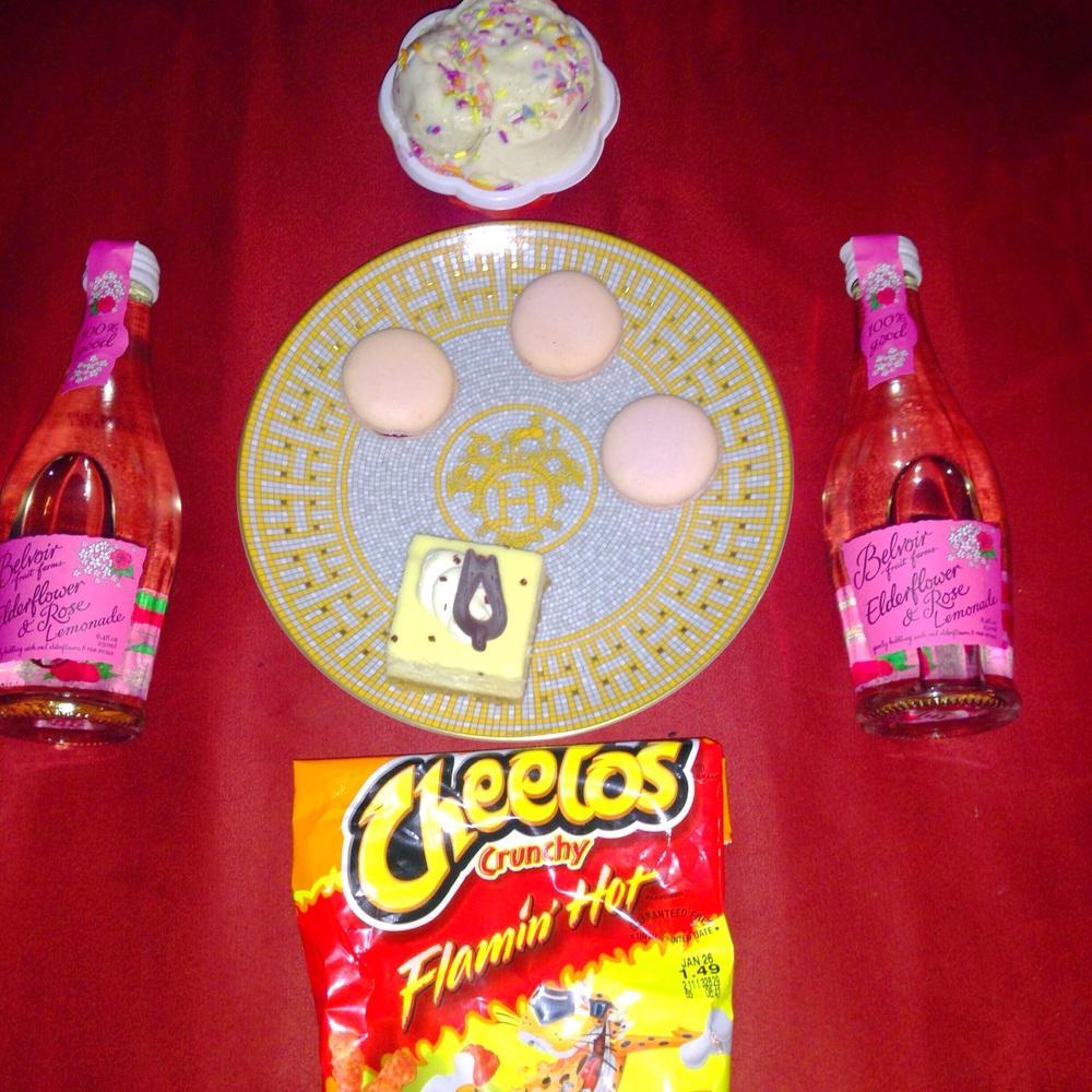 Just about every woman can relate.... Birthday Cake Gelato. Raspberry Macaroons. Cheesecake Bars. Hot Cheetos. Elderflower & Rose Lemonade.