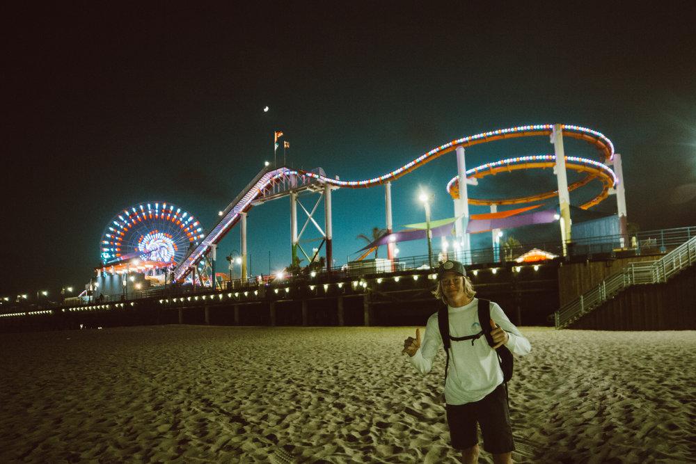 Santa Monica Pier at night, don't tell TJ's parents