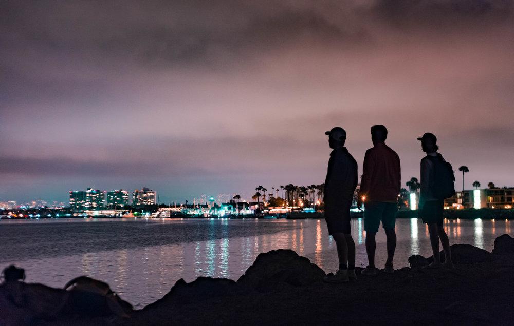 enjoying the city lights at Marina Del Ray
