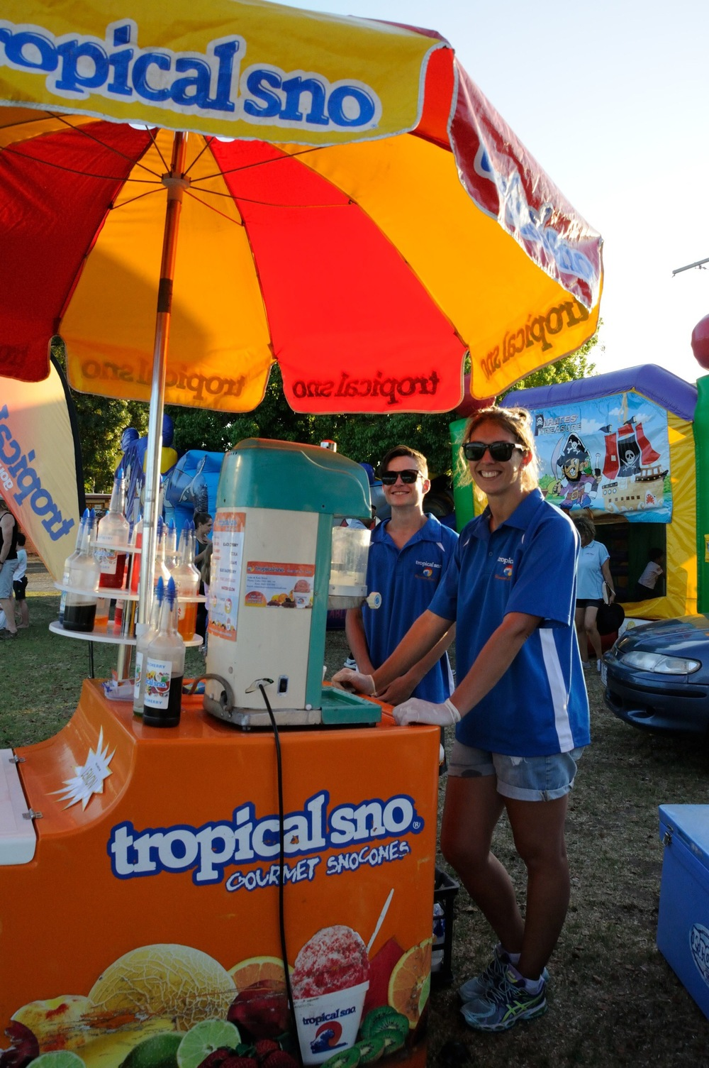 The snow cones were welcomed by all in the scorching weather