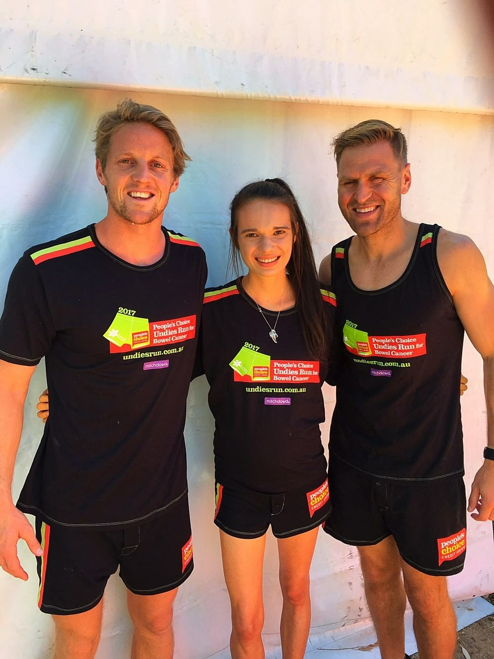 5 months after learning to walk again, Melissa successfully completed the Peoples Choice Undies Run to Kick Bowel Cancer in the Butt with Rory Sloane and Kane Cornes. She was also the second highest individual fund raiser for the event.