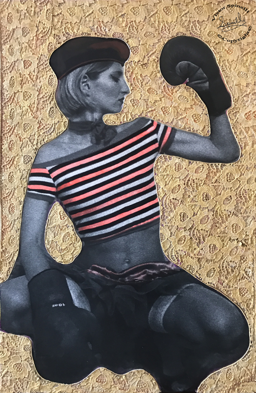 """Boxeadora TKO"". A golden piece of art that has gone through a few changes since created 2014. This is it's last & final incarnation of it's many layers.  30x46 on wood with archival photocanvas, textile lace, synthetic polymer paint and resin.  The original image was shot with high speed 3200 iso Kodak film, on a dark sultry summer night in Ibiza, in 2001…. timeless.    For more information click here:  https://www.victorspinelli.com/new-products/boxeadora-tko-fine-art"