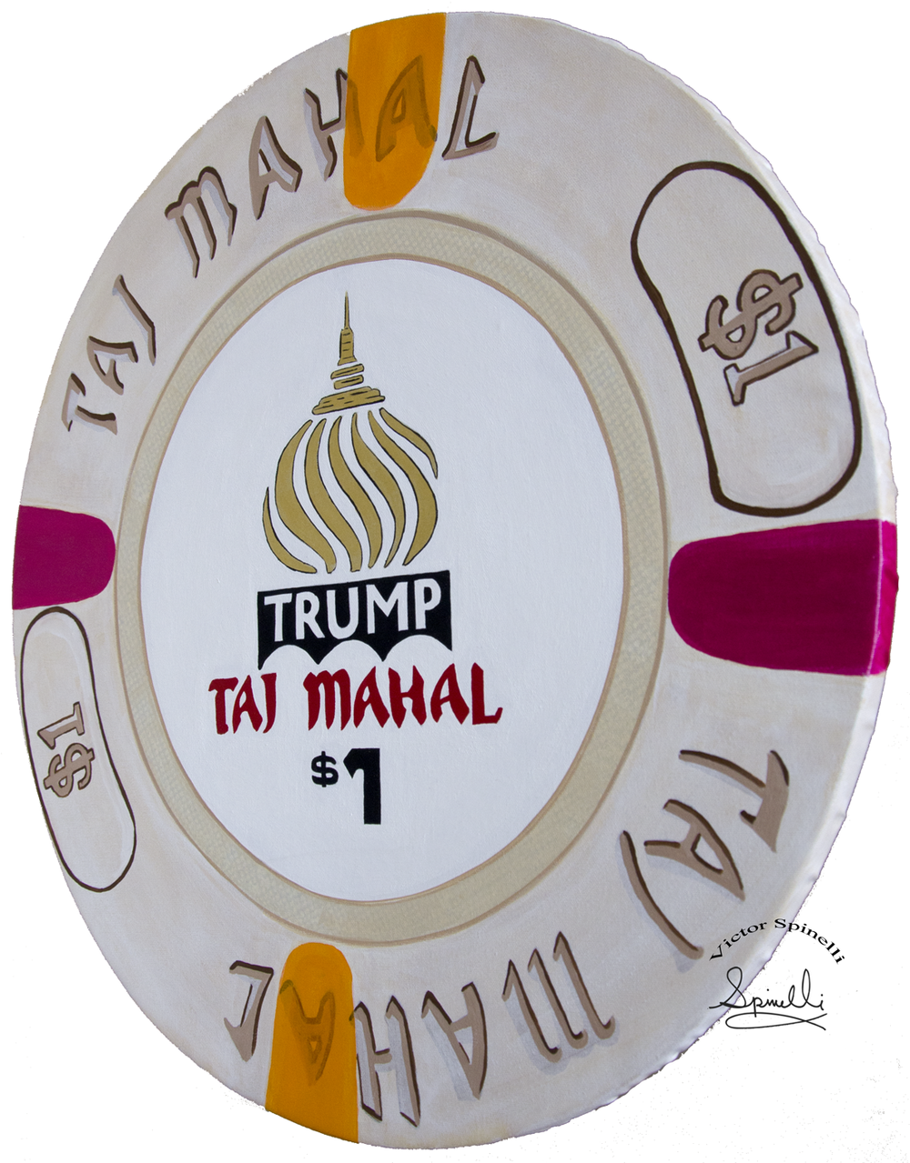 It was only a matter of time before I painted this chip. I  guess Donald Trump is the only US President that put his name on a casino. This  piece is the newest addition to my giant Casino Chips Series. Hand  Painted & UNIQUE.  Acrylic on canvas and solid wood.  24 inch  diameter by 1 inch thick. .    For me,  painting and creating these giant art chips represents the human  condition of risk taking, chance and discovery. Enjoy  Please inquiry for  sales.    https://www.victorspinelli.com/new-products/