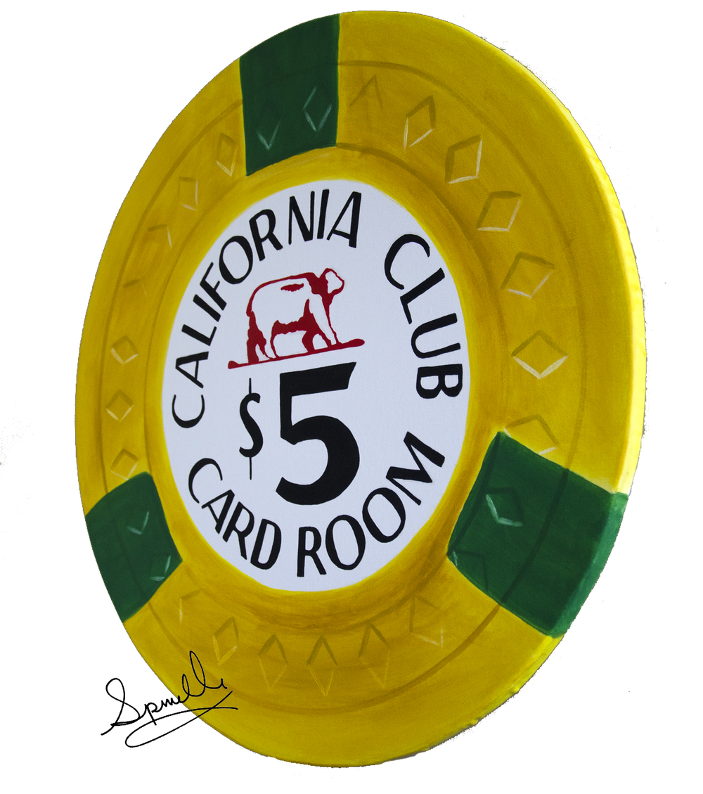 "I love the vibrant yellow on this casino chip that I've painted. The original is from the 1960′s and has diamond molding as you can see. A little Las Vegas history.  The California Club operated on Fremont Street in Las Vegas from 1946 to 1970.  It was considered a ""Locals"" casino and did not have any hotel rooms attached to it and was owned and operated by Phil Long and his partner George Milford. In 1970, I believe the casino became The Friendly Club then combined into the Golden Nugget shortly after its purchase by Steve Wynn.  I just poured a fresh coat of resin on this little casino chip. It looks super sharp at 24 inch diameter on solid wood. Enjoy!"