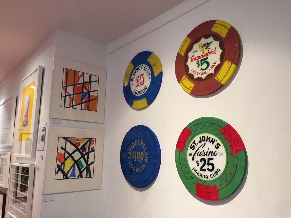 The GX Gallery in London has 4 of my casino chips hanging on their walls. Swing by 43 Denmark Hill in Camberwell is you are close by.  All hand painted on solid wood, 60cm in diameter.   More info here:  http://www.gxgallery.com/