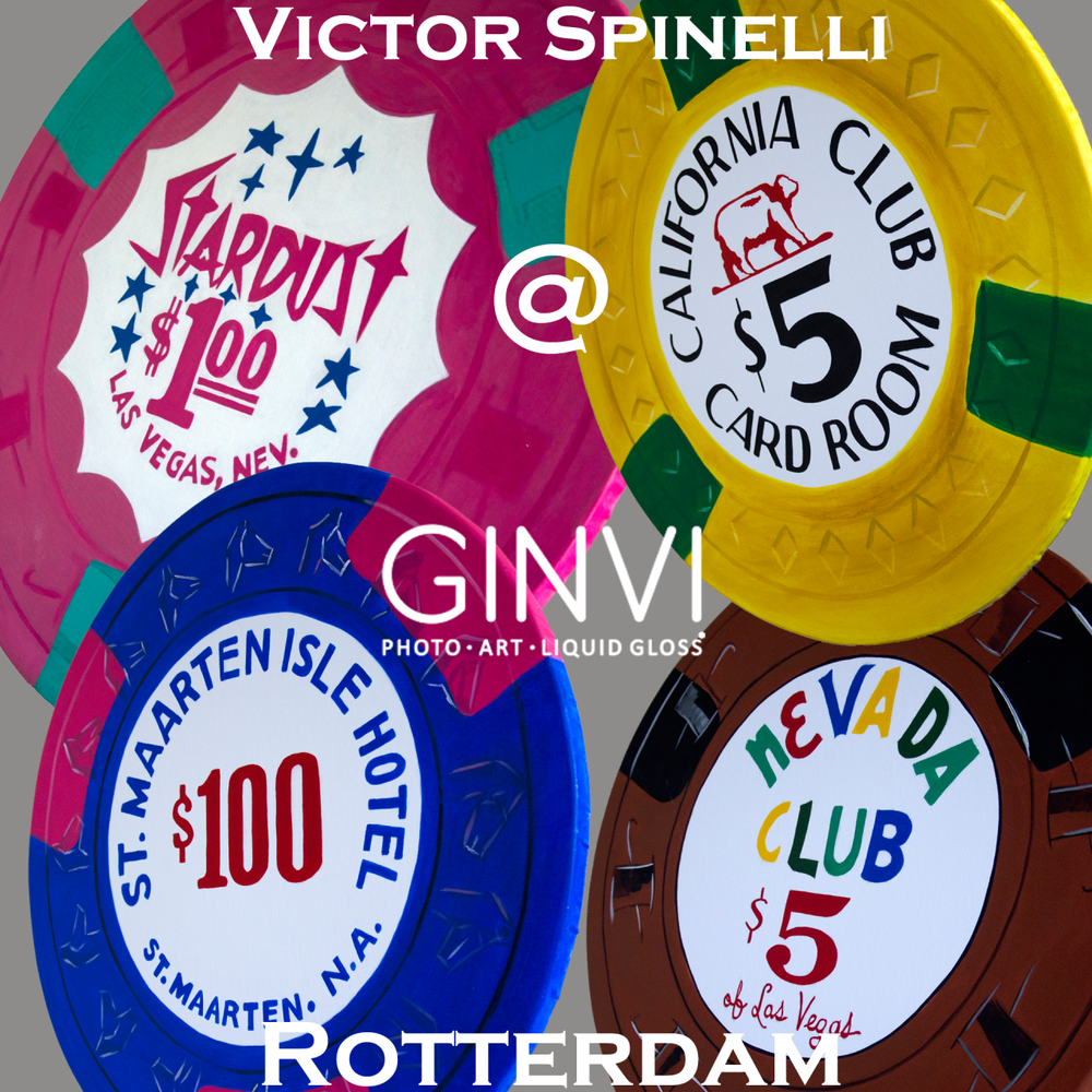 Grand art opening in 2 hours at Ginvi in Rotterdam. 12-5 pm. Zaterdag! A new collection of giant casino chips from New York plus many many classic photographs from the Victor Spinelli Archive.    Goudsesingel 121  3031 EG Rotterdam Nederland Telefoon +31 (0)10 - 214 20 83